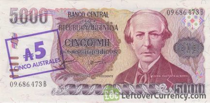 5 Australes overprint on 5000 Pesos Argentinos banknote