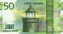 50 Norwegian Kroner banknote (Utvær Lighthouse)