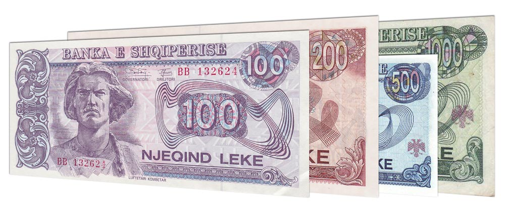 withdrawn Albanian Lek banknotes