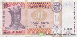200 Moldovan Lei banknote