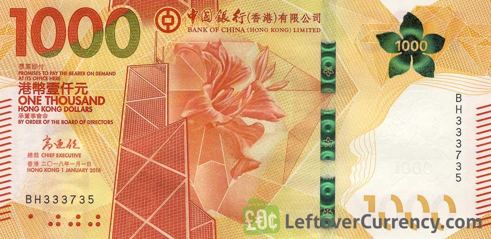 1000 Hong Kong Dollars Banknote Bank