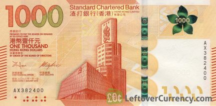 1000 Hong Kong Dollars banknote (Standard Chartered Bank 2018 issue)