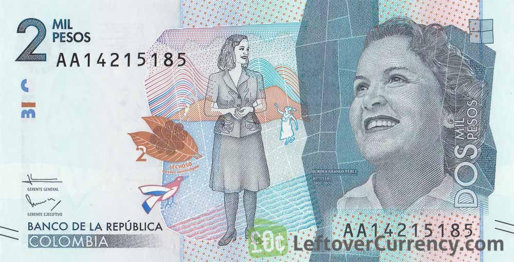 2000 Colombian Pesos Banknote Débora