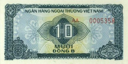 10 Vietnamese Dong foreign exchange certificate