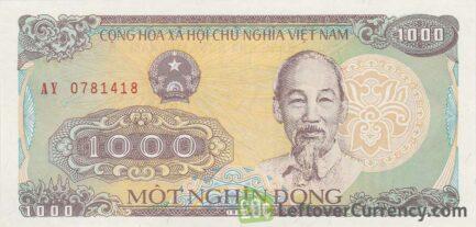 1000 Vietnamese Dong banknote type 1988