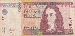 10000 Colombian Pesos banknote (Policarpa Salavarrieta)