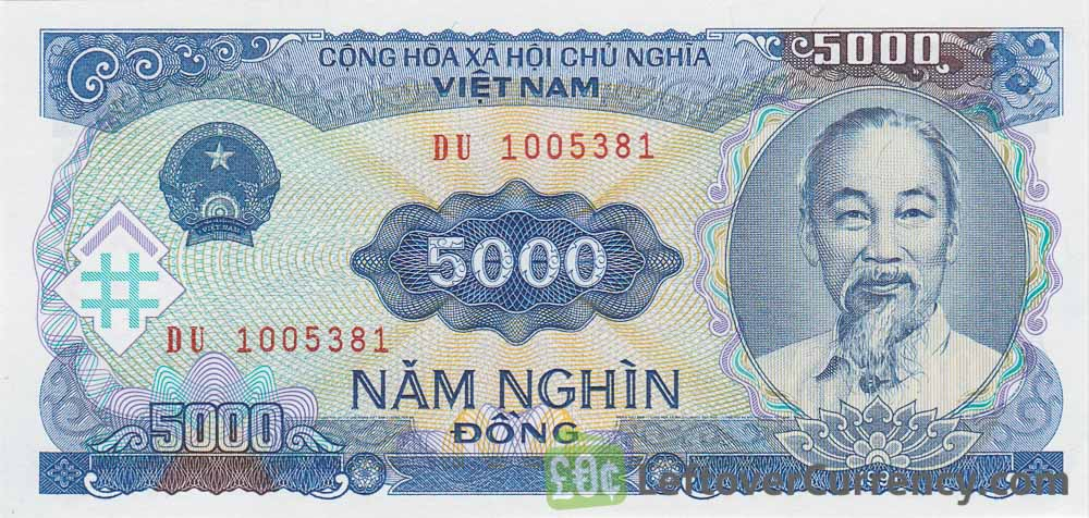 5000 Vietnamese Dong Banknote Type 1991 Exchange Yours For Cash