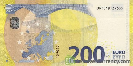 200 Euros banknote Second series reverse
