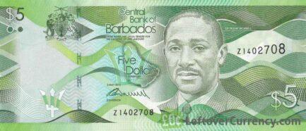 5 Barbados dollars banknote (Three Ws Oval cricket field)