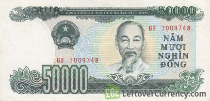 50000 Vietnamese Dong banknote type 1990 to 1994 obverse accepted for exchange