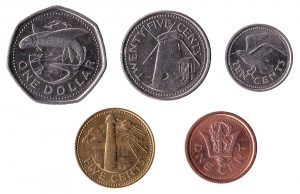 Barbadian Dollar and cent coins