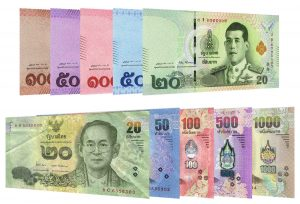 current Thai Baht banknotes Rama X and Rama IX