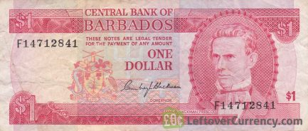 1 Barbados Dollar banknote (National Heroes Square) obverse accepted for exchange