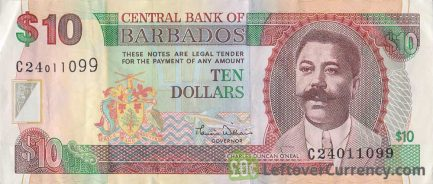 10 Barbados Dollars banknote (National Heroes Square)