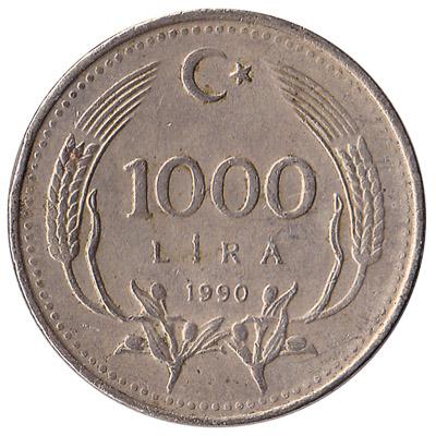 1000 lira coin Turkey 1990 reverse