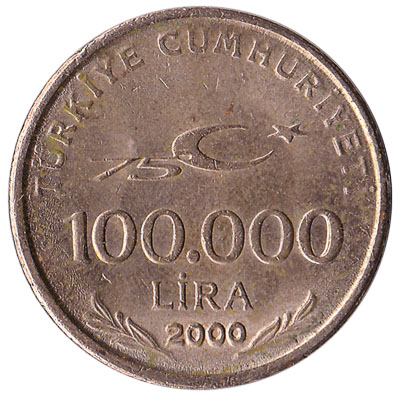 100,000 lira coin Turkey 2000 obverse