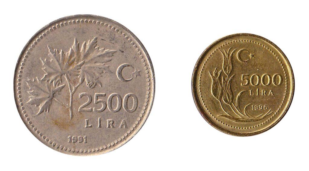 Turkish 2500 Lira and 5000 Lira inflation coins