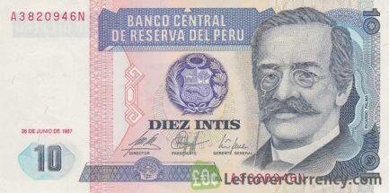 10 Peruvian intis banknote obverse