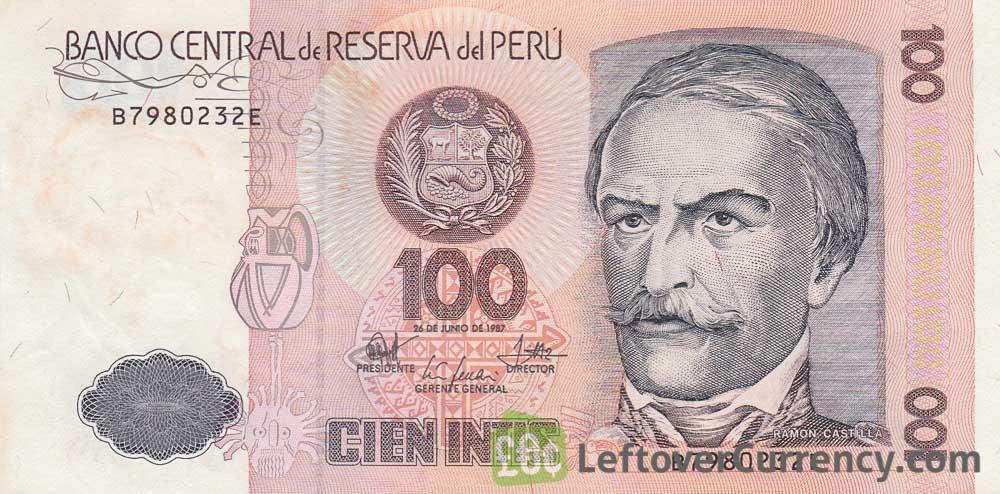 100 Peruvian intis banknote obverse