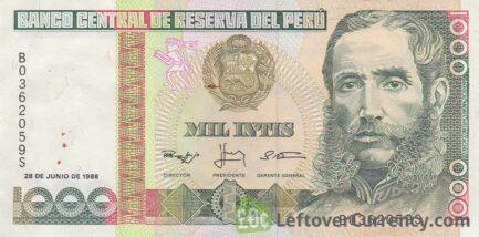 1000 Peruvian intis banknote obverse