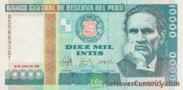 10,000 Peruvian intis banknote obverse