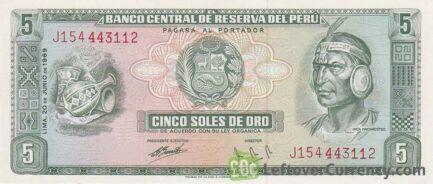 5 Soles de Oro banknote Peru (Inca Pachacútec)