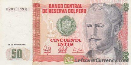 50 Peruvian intis banknote obverse
