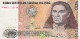 500 Peruvian intis banknote obverse