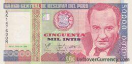 50,000 Peruvian intis banknote obverse