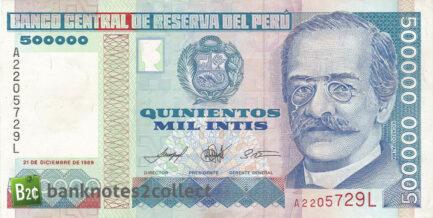 500,000 Peruvian intis banknote obverse