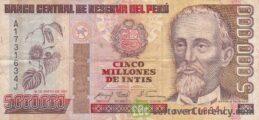 5,000,000 Peruvian intis banknote obverse