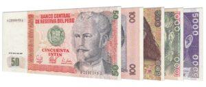 Peruvian Intis banknotes