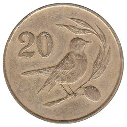 20 cents coin Cyprus (pied wheatear bird)