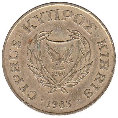 20 cents coin Cyprus (pied wheatear bird)