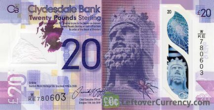 Clydesdale Bank 20 Pounds banknote (2019 series)