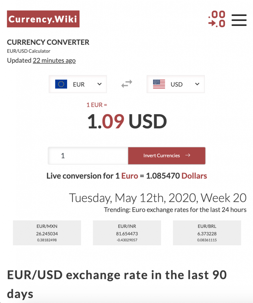 currency calculator example