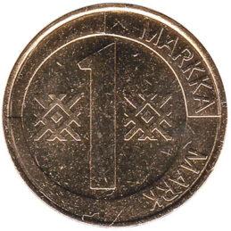 1 markka coin Finland (aluminium bronze)