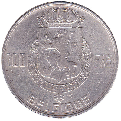 100 Belgian Francs coin (Four Kings)