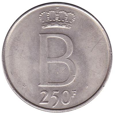 250 Belgian Francs coin (Baudouin)