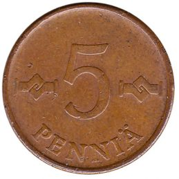 5 pennia coin Finland (copper)
