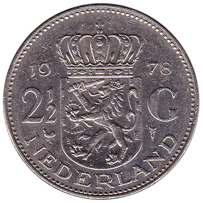 2 1/2 gulden coin (Juliana)