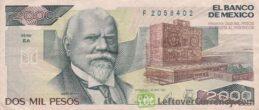 2000 old Mexican Pesos banknote (Justo Sierra)