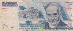 20000 old Mexican Pesos banknote (Andrés Quintana Roo)