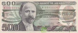 500 old Mexican Pesos banknote (Francisco I. Madero)