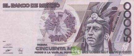 50000 old Mexican Pesos banknote (Cuauhtémoc)