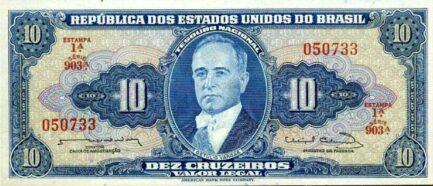 10 Brazilian Cruzeiros banknote (Getulio Vargas blue type)