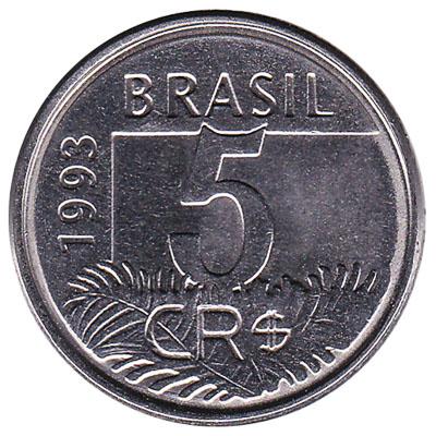 5 Cruzeiros Reais coin Brazil