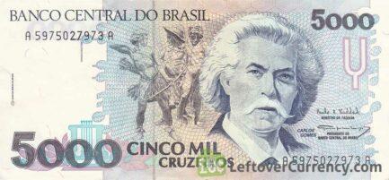5,000 Brazilian Cruzeiros banknote (Carlos Gomes)