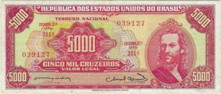5,000 Brazilian Cruzeiros banknote (Tiradentes red type)