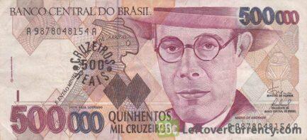 500,000 Brazilian Cruzeiros banknote (de Andrade)